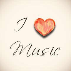 Stylish text I Love Music with heart shape.