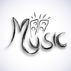 Stylish text Music with speakers design.