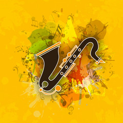 Stylish saxophone with musical notes.