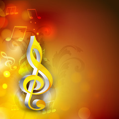 Shiny 3D g-clef with musical notes.