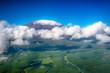Leinwanddruck Bild - Aerial image of Mount Kilimanjaro, Africa's highest mountain, wi