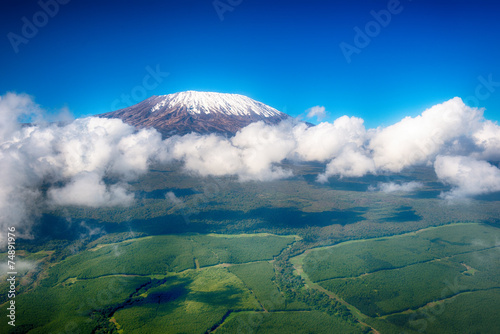 Aerial image of Mount Kilimanjaro, Africa's highest mountain, wi