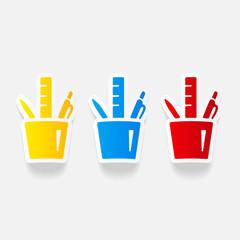 realistic design element: stationery tools