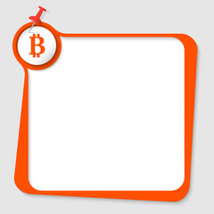 text box with pushpin and bit coin symbol