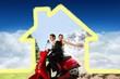 Composite image of newlywed couple enjoying scooter ride