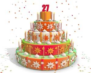 taart gekleurd met cijfer 27