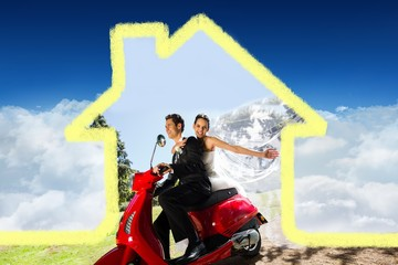 Composite image of newlywed couple enjoying scooter ride