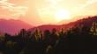 Flying Over Prehistoric Jungle in the Sunset Sunrise 3D Animatio