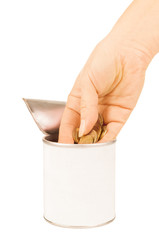 hand put coin in tin with