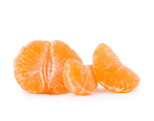 three peeled tangerines on a white background