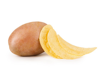 potatoes and chips on white backround