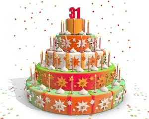 taart gekleurd met cijfer 31
