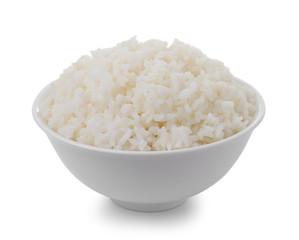 bowl full of rice on white background