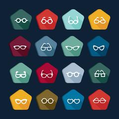 Eyeglasses icons set 1