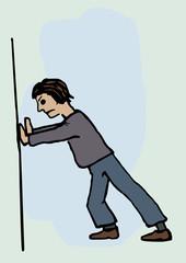A man pusing against a wall