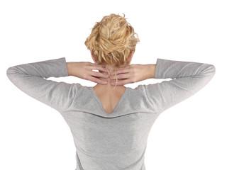 Woman neck pain.