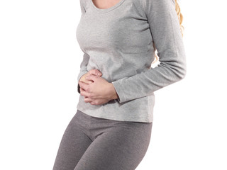 Woman around waistline to show pain on belly area.