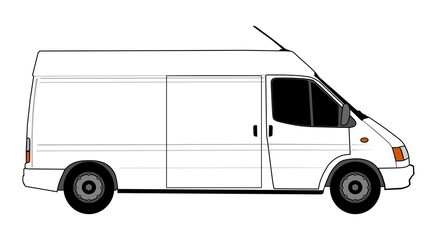 Illustration of white delivery car