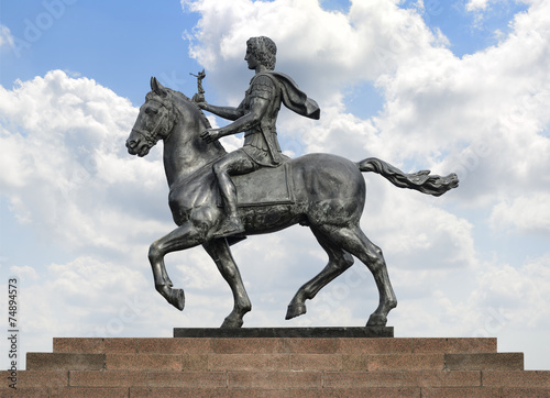 Alexander The Great on Horse over Blue Sky