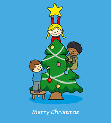 Christmas card. Children decorating christmas tree