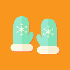 Santa Mint Gloves Christmas Flat Icon