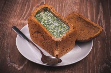 eastern european soup okroshka in bread