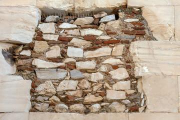 Steinmauer an der Akropolis in Athen