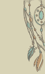 boho chic, hand drawn background in craft style
