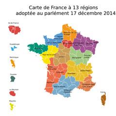 Carte de France avec 13 régions 2014