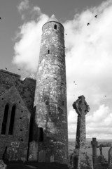 rock of cashel in black and white