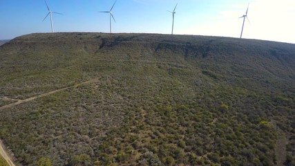 Aerial video of a wind farm in Texas