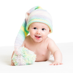 smiling baby boy infant in funny hat