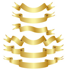 Set of gold curved ribbons