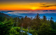 Sunset over mountains and fog from Clingman's Dome Observation T