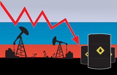 Oil price fall on oil pump field and Russian flag background