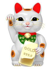 招き猫 まねき猫 ゴールド レンダー イラスト