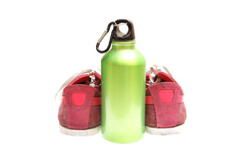 meatal drink bottle sports shoes isolated