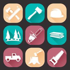 Lumberjack Woodcutter Icons Set. Flat Trendy Design.
