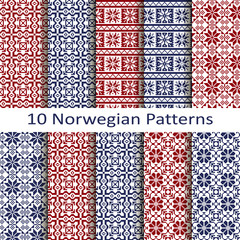 set of ten norwegian patterns