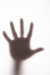 Silhouetted hand on frosted glass.