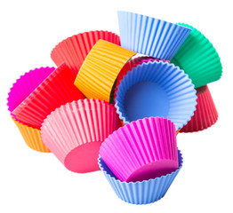 Cupcake silicone baking cups over white background
