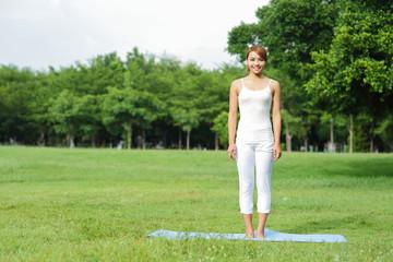 Young sport girl do yoga