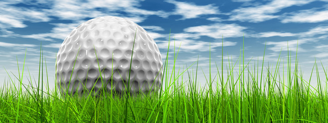 White golf ball in grass and sky banner