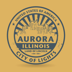 Grunge rubber stamp with name of Aurora, Illinois