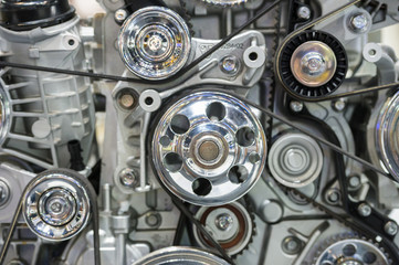 Close up of car engine