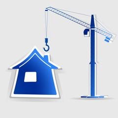 realistic design element: house icon with crane