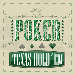 Texas holdem poker retro background for vintage design