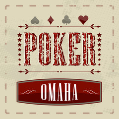 Omaha poker game retro background for vintage design