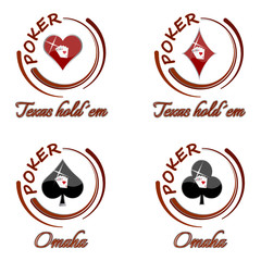 Set of poker vector icons with playing card symbol