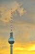 canvas print picture - Fernsehturm Berlin Sunset